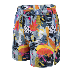 "OH BUOY 2N1 5"" Swim Shorts in Blue Cut Work Tropical by SAXX"