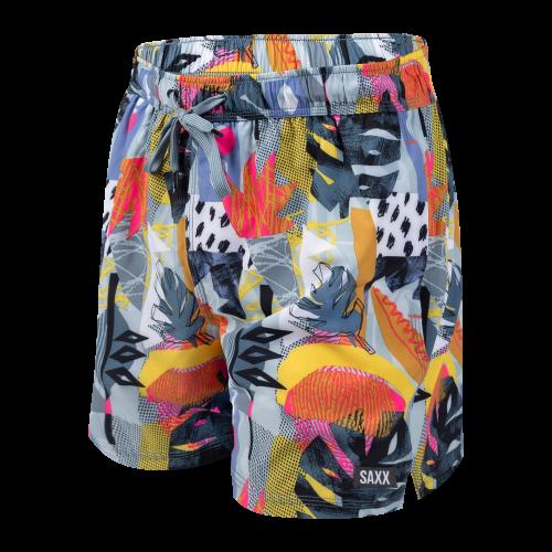 """OH BUOY 2N1 5"""" Swim Shorts in Blue Cut Work Tropical by SAXX"""